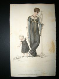 Ackermann 1809 Hand Col Regency Fashion Print. Mourning Dress 2-17